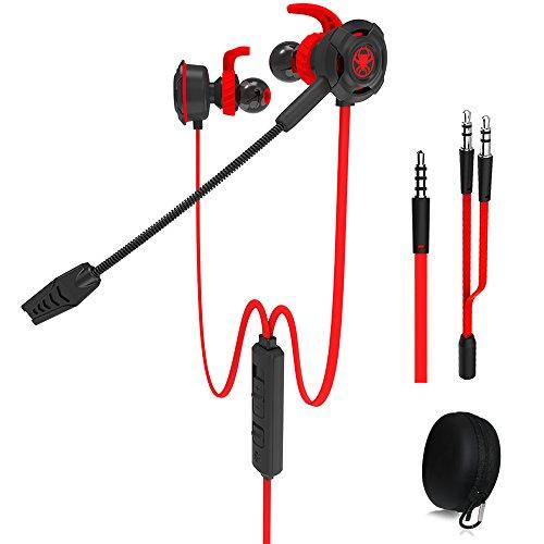 Auriculares para juegos con cable y micrófono ajustable para PS4, Xbox, computadora portátil, auriculares E-sports DLAND con bolsas portátiles, diseño suave(rojo)