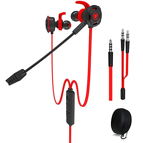 Wired E-Sport Earphone with Adjustable Mic for PS4, Laptop Computer, Cellphone,and so on, maxin 3.5mm Wired Earburds with Snug and Soft Design, Inline Controls for Hands-Free Calling. (Red)