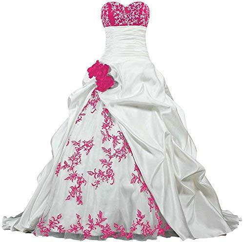 Zorayi Damen Elegante Kapelle Zug Prinzessin Ballkleid Brautkleid Hochzeitskleider Elfenbein & Rose Größe 60