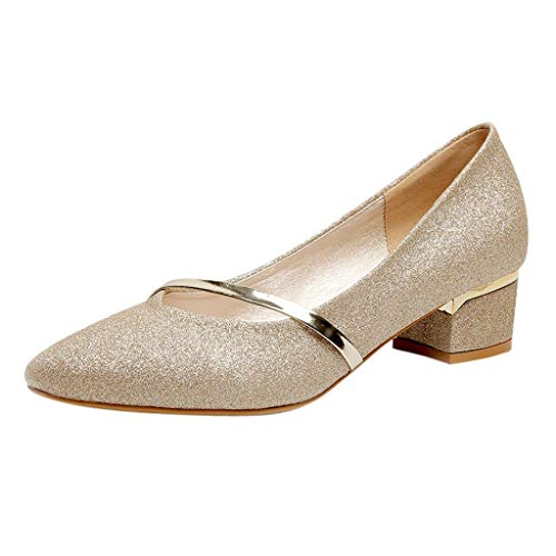 Women's Shiny Gittler Leathe Single Shoes Elegant Classic Low Heel Loafer Pointed Toe Slip On Shallow Evening Party Dress Shoes (Gold, US 8)