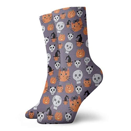Colin-Design Halloween-Socken mit Katzen & Totenköpfen, klein, personalisierbar, Sportsocken, 30 cm, Crew-Socken für Männer & Frauen