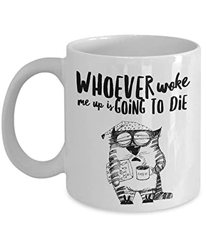Lawenp El gato soñoliento divertido le va a matar taza; Wake up Grumpy Daddy Cup para té o café