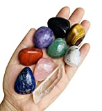 9 PCS Chakra Stones Healing Crystals Set, Tumbled and Polished, for 7 Chakras Balancing, Crystal Therapy, Meditation, Reiki, or as Thumb Stones, Palm Stones, Worry Stones
