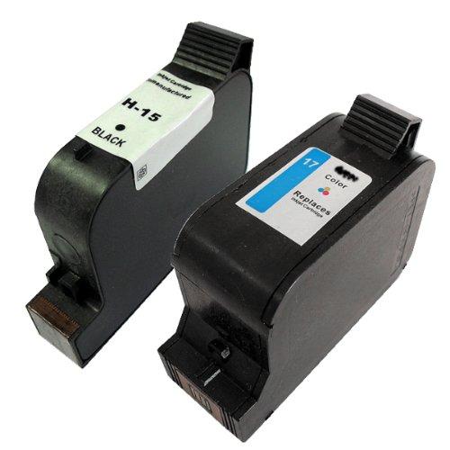 Druckerpatronen Refill im Set, ersetzt HP 15 und HP 17, passend in dieser Zusammenstellung für Deskjet 816C, Deskjet 840C, Deskjet 843C, Deskjet 845C