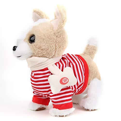 Akozon Simulatie Hondenspeelgoed Elektrisch knuffel Wandelen en zingen met hondenriem(Rood)