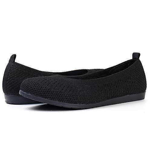HKR Womens Ballet Flats Mesh Slip on Memory Foam Ballerina Loafers Shoes All Black/UK 7