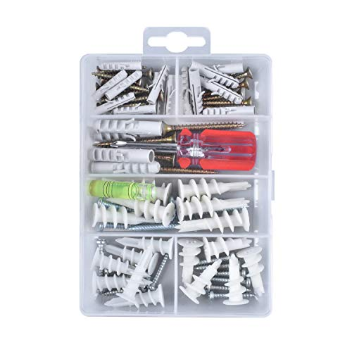 Sheetrock Wall Anchor Hardware Set. Large Heavy Duty 50 75 LBS Self Drilling Hanging Pictures Concrete TV Furniture Shelves Mount Nylon Drywall Anchors W/ Screws Assortment Kit. Phillips Screw Driver