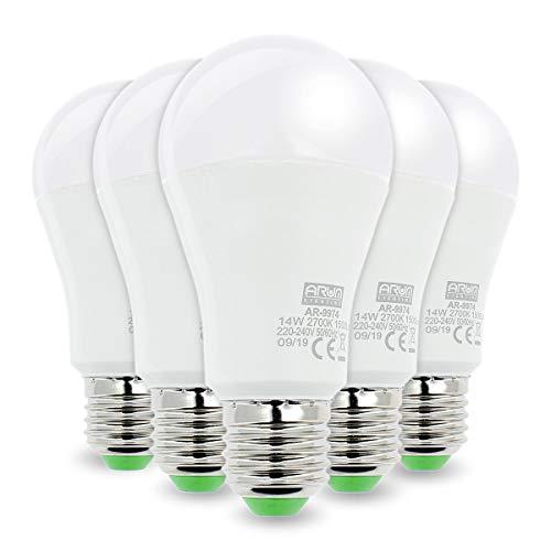 Lot de 5 Ampoules E27 14W Eq. 100W 1500 Lumens Blanc Chaud, Non-Dimmable
