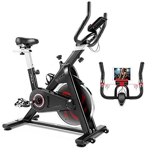 HEKA Heimtrainer Fahrrad Speedbike, Hometrainer, Spinning Bike, Fitnessbikes, Ergometer Heimtrainer, Fitness Stepper für zuhause – Riemenantrieb, mit LCD Display, Pulsmessung, Ergometer, max 150 kg