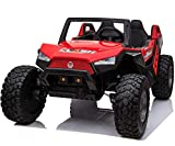 Powerwheel TV Screen Ride ON UTV Buggy 24v Kids Ride On Car with Remote Control RZR Kids Car Truck Battery Powered Children Vehicles, Wheels Suspension, Remote Control, LED Lights, Music, TV 4X4 RED