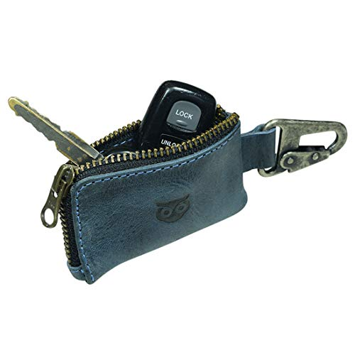 Hide & Drink, Rustic Leather Car Key Holder, Headphone & Charging Cables, Memory Cards, Flash Drives, Lighters, Cash Zipper Case with Clasp, Handmade Includes 101 Year Warranty :: Slate Blue