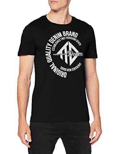 TOM TAILOR Denim 1019907 Basic Print T-Shirt, 29999-Black, M Uomo