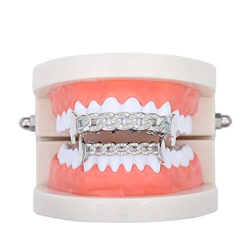Diamant CZ Zähne Grillz für Mund Oben und unten, Zirconium Gold-Joker Grillz Hip Hop Zähne,Silber
