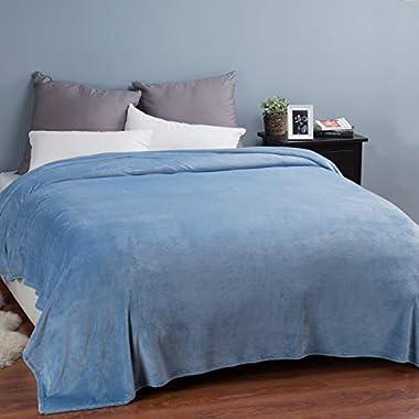 Bedsure Flannel Fleece Luxury Blanket Washed Blue Queen Size Lightweight Cozy Plush Microfiber Solid Blanket