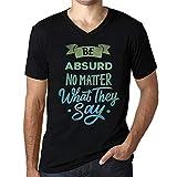 Photo de Homme T Shirt Graphique Imprimé Vintage Col V Tee Be Yourself Absurd Noir Profond