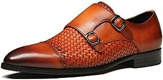 Men's Formal Double Buckle Monk Strap Handwoven Captoe Leather Hoog Shoes, Brown
