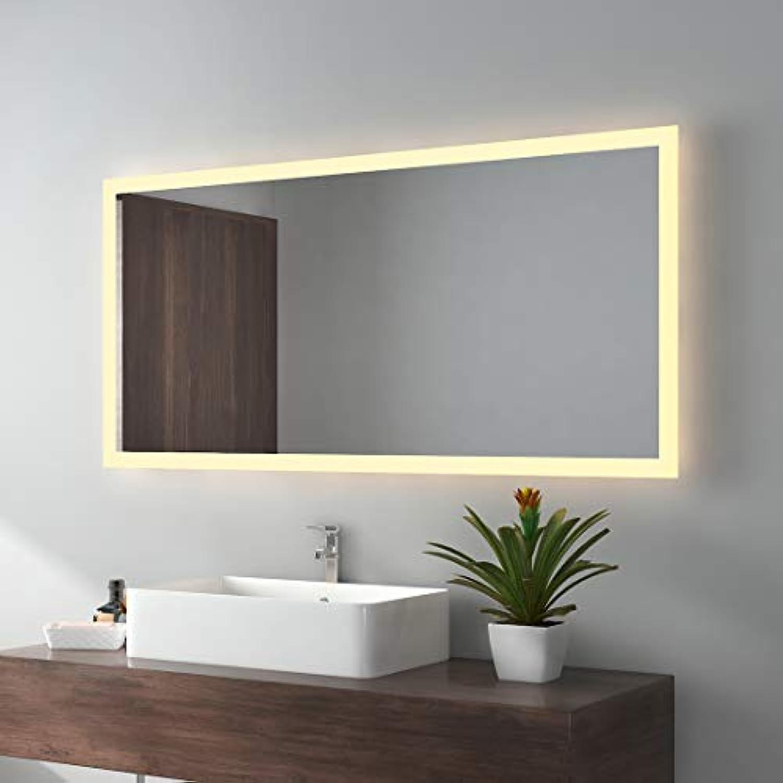 EMKE LED Badspiegel 120x60cm Badezimmerspiegel mit Beleuchtung Warmweissen Lichtspiegel Wandspiegel IP44 energiesparend
