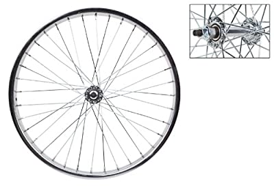 """Wheel Master 20"""" x 1.75 Front Bicycle Wheel, 36H, Steel, Bolt On, Silver"""
