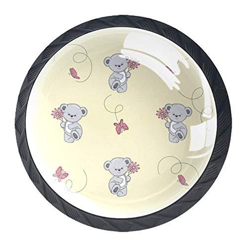 Confezione da 4 pomelli per armadietti da cucina, con manico rotondo per cassetto, con motivo orsacchiotto e farfalle