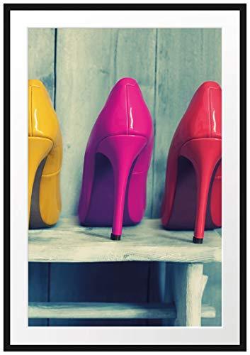Picati Bunte High Heels Bilderrahmen mit Galerie-Passepartout | Format: 100x70cm | garahmt | hochwertige Leinwandbild Alternative