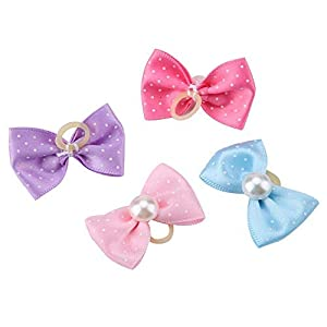 20pcs Dog Bow Pattern Hair Rope, Small Pets Grooming Products Puppy Cats Wave Point Hair Band with Faux Pearl for Cats Dogs Kitten Puppies