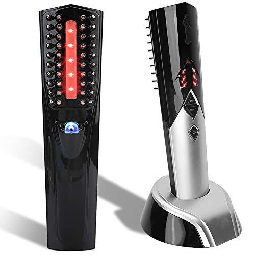 Peine de masaje para el crecimiento del cabello, cepillo de tratamiento eléctrico USB, cepillo de masaje anticaída, peine infrarrojo para el crecimiento del cabello con base