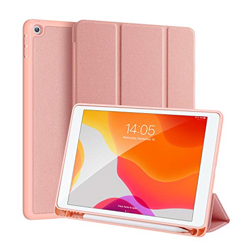 DUX DUCIS iPad 7th Gen 10.2 2019 Case with Pencil Holder, Soft TPU Back and Magnetic Trifold Stand Cover with Auto Sleep/Wake for iPad 7th Generation 10.2 Inch 2019 (Pink)
