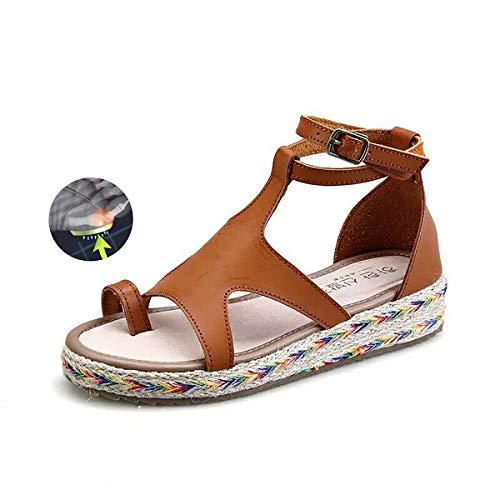 W&TT Corrector De Juanetes Ortopédico para Mujeres Zapatos Ortopédicos, Sandalias Correctoras Suaves con Dedo Gordo del Pie Suela Plana De Cuero De PU Zapatillas Casuales,Brown,38