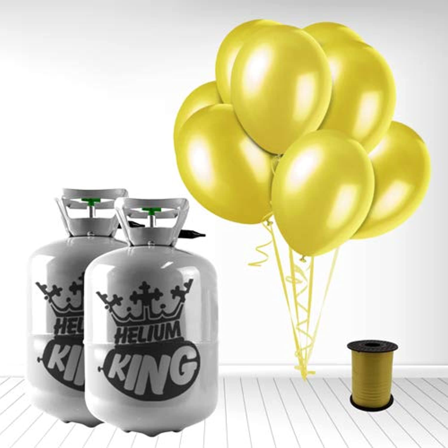 Disposable Helium Gas Cylinder with 60 Yellow Balloons and Curling Ribbon included