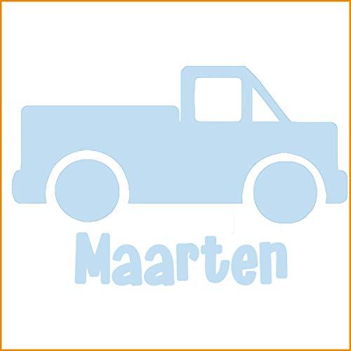 My Family Deursticker Truck met naam - Babyblauw - 28 cm x 20 cm - gepersonaliseerd