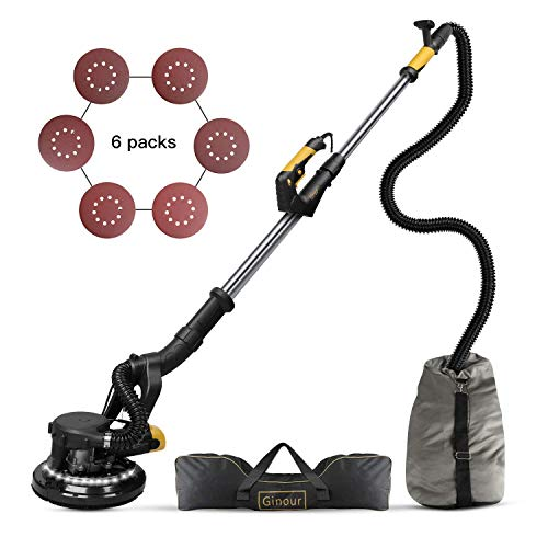 Ginour 360° 750W Drywall Sander With Vacuum Attachment, Variable Speed & LED Light, Extendable Handle, Long Dust Hose, Storage Bag, 6 Sanding Discs