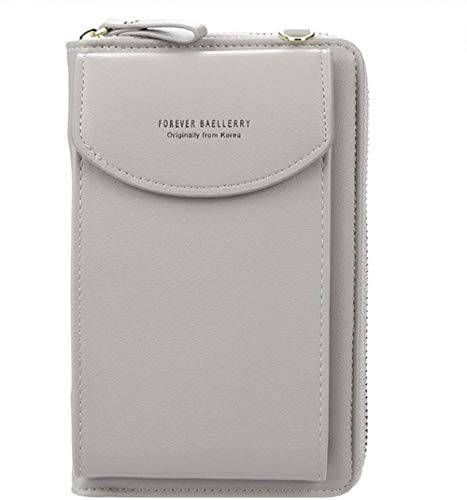 Ecosway Geldbörse für Damen, große Kartenfächer, Handtasche, einfarbig, diagonale Tasche, Multifunktions-Clutch mit Reißverschlusstasche, grau (Grau) - EB020200506A