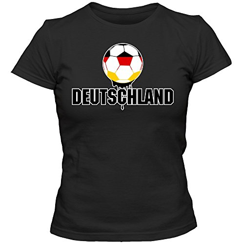 Deutschland WM 2018#4 T-Shirt Fußball Damen Fanshirt Trikot Nationalmannschaft, Farbe:Schwarz (Deep Black L191);Größe:L