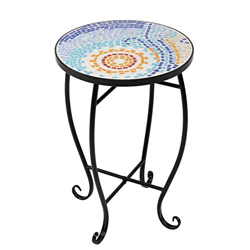 Bohemia Mosaic Side Table Turkey Stained Glass Surface End Table Indoor Outdoor Flower Stand for Patio Lawn Garden Home Décor