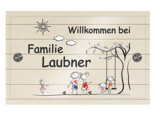Namensschilder Türschild für die Haustür mit Namen | Bunte Türschilder für Familien ab 15x9 cm mit Halterung Familien-Haus Namen Haustürschild Familienschild Haus Garten