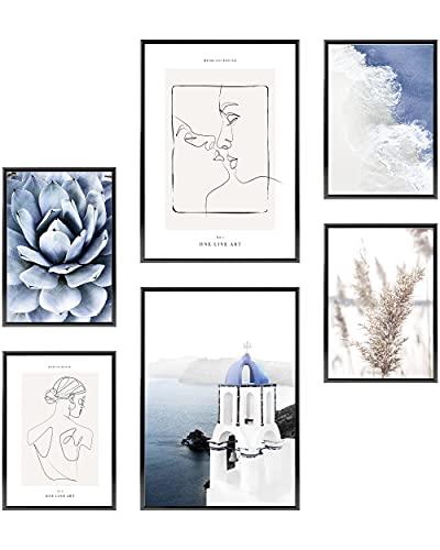 Heimlich Cuadros Decorativos - SIN Marcos -Decoración Colgante para Paredes de Sala, Dormitorios y Cocina - Arte Mural - 2 x A3 & 4 x A4-30x42 & 21x30 | » Beso Mujeres del «