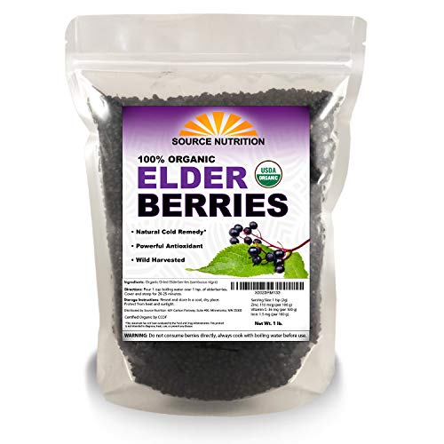 Organic Dried Elderberries - Responsibly Wild Crafted, Whole European Elderberry, Perfect for Tea, Syrups, and More - Sambucas Nigra - 1 Pound (Certified Organic)