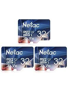 Netac 32GB x 3 microSDHC Card, microSDHC UHS-I Card - 90MB/s, 600X, U1, C10, V10, A1, FAT32, High Speed TF Card - P500