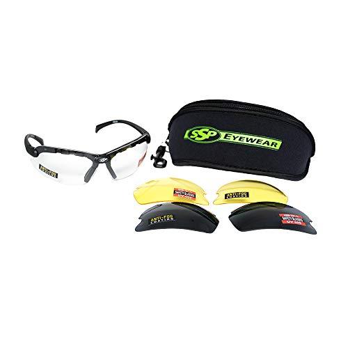 SSP Eyewear Chelan Shatterproof Safety Shooting Glasses Kit with Assorted Interchangeable Color Anti-Fog Lenses, CHELAN AMZ KIT