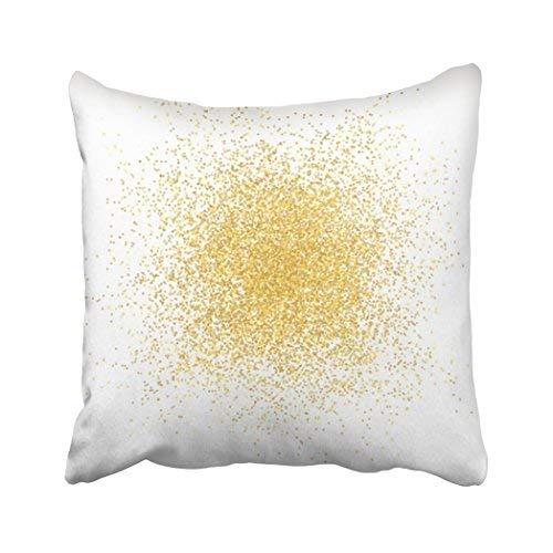 Funda de almohada decorativa para el hogar, 18 x 18 cm, color oro amarillo y dorado en aerosol sobre purpurina blanca brillante Swoosh metálico, abstracto Bokeh, fundas de cojín decorativas, cuadradas, para sofá, accesorio para el hogar, regalos