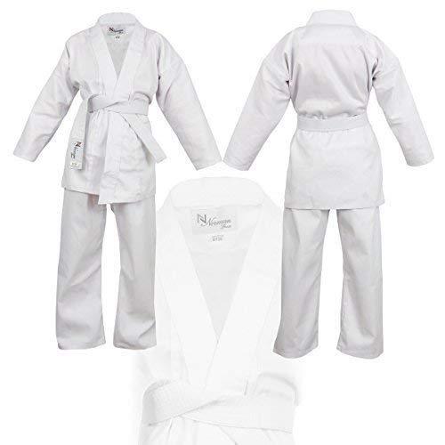 NORMAN Bianco per Bambini Abito da Karate Cintura Bianca Gratis Bambini Abito da Karate - 140cm