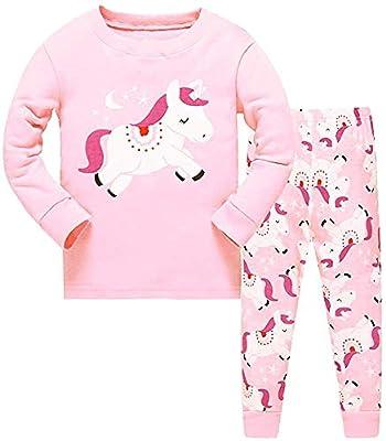 HommyFine Pijamas de Manga Larga para niñas, Niña Pijamas Conjunto Algodón Dos Piezas, Pijamas para niñas Unicornio Ajuste Ceñido Talla 2 a 7 años (Unicornio 01, 120)