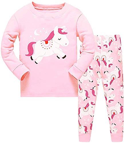 HommyFine Pijamas de Manga Larga para niñas, Niña Pijamas Conjunto Algodón Dos Piezas, Pijamas para niñas Unicornio Ajuste Ceñido Talla 2 a 7 años (Unicornio 01, 140)