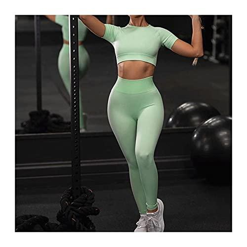 YZAIBB Conjuntos de Yoga para Mujeres de 2 Piezas, Conjunto de Entrenamiento sin Fisuras, Tanque de Cosecha Acanalado Trasajas de Cintura Alta para Pantalones Cortos de Yoga (Color : P, Size : L)