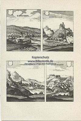 Ziegenberg Ludwigstein Zwingenberg Lichtenberg Kupferstich Merian O 0037