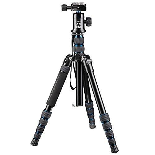Mantona trípode 21086 DSLM Viajes para el Sistema/DSLM cámara/Compacto (143 cm (56,3 Pulgadas), con Cabeza, Capacidad de Carga: 5 kg, Columna Central giratoria, Paquete Compacto) Azul