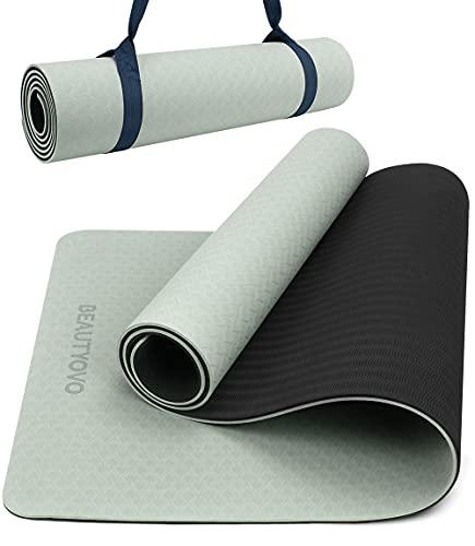 Yogamatte Rutschfest Schadstofffrei, 8mm Extradick Yoga Matte mit Tragegurt, TPE Sportmatte für Zuhause oder Draußen, Fitnessmatte für Yoga Pilates Workout, Gymnastikmatte Doppelseitig (Schwarz&Grau)