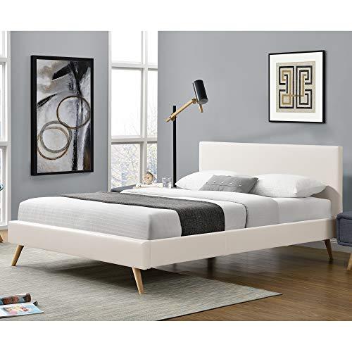 Corium Polsterbett aus Kunstleder Bettgestell mit Lattenrost 180x200 cm Bett inkl. Lattenrahmen und Kopfteil Doppelbett Jugendbett Weiß