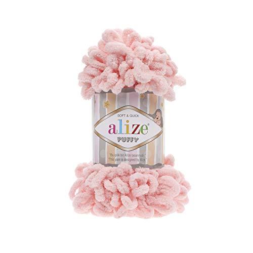 Ovillo de lana suave de micropoliéster 100% Alize Puffy para tejer a...