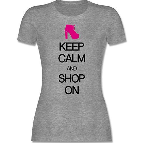 Keep Calm - Keep Calm and Shop on - XL - Grau meliert - Rundhals - L191 - Tailliertes Tshirt für Damen und Frauen T-Shirt